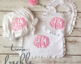 Monogrammed Baby Girl Bib, Burp Cloth, Bloomers, and Headband Set
