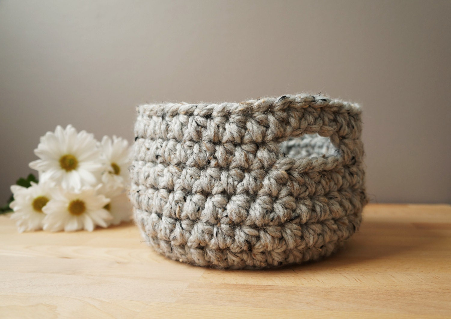 Woven Yarn Basket : Woven basket farmhouse decor soft yarn room