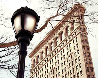 NYC Print, Flatiron Building, NYC Wall Art, New York City Print, Winter, Beige, Travel Photography, Large Wall Art, Fine Art Photography