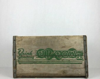 Vintage Wood Crate Uptown Soda Wooden Beverage Crate Rare 1950s Drink Uptown Soda Crate
