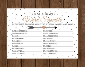 Bridal Shower Word Scramble Game Rose Gold And Black