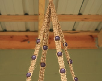Purple or Lavender Wooden Beads in a Jute Plant Hanger