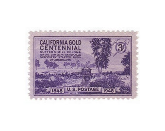 10 Unused Vintage Postage Stamps - 1948 3c California Gold Rush - Item No. 954