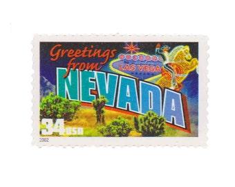 5 Unused US Postage Stamps - 2002 34c Greetings from Nevada - Item No. 3588