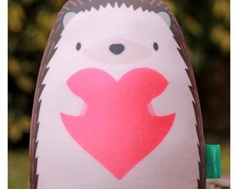 Hedgehog Soft Printed Pillow Microbeads Filling Original Illustration