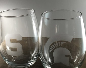Official collegiate licenced product - Michigan State University MSU stemless wine glass