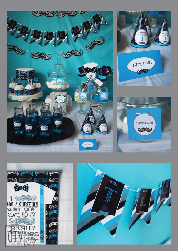 MUSTACHE Bash - Baby Shower - 1st Birthday - Standard Pack - Baby Boy - Black - Blue - Personalised - PRINTABLE - Pdf - Digital File