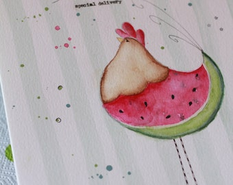 You are one in a melon - Linda the hen - e-pattern in English watercolor and acrylics painting