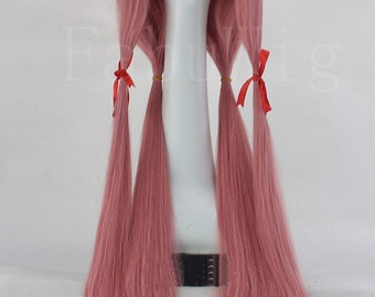 """26"""" Long Straight Wig Bunches Pink Lolita Cosplay Hairpiece For Women"""