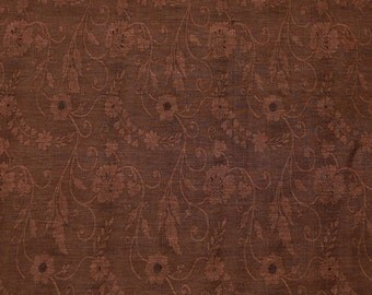 """Brown Silk & Linen Flax Jacquard Fabric Floral Design, 44"""" Wide, By The Yard (JD-347N)"""