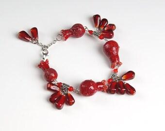 Pomegranate lampwork bracelet, fruit bracelet, dark red bracelet, nature bracelet, ruby bracelet, pomegranate jewelry, garnet bracelet