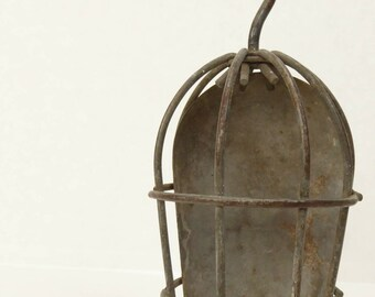 Vintage Industrial Cage Light Daniel Woodhead. Light Cage. Hanging trouble light cage. Light housing.