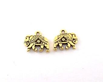 2 Tierra Cast Gold Gita Elephant Charms