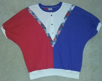 Vintage Red White Blue Plaid Top 90s