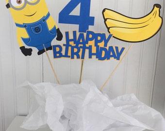 4 Piece Minion Centerpiece, Minion Centerpiece, Minion Birthday Decor, Cake Topper, Despicable Me Birthday Decor