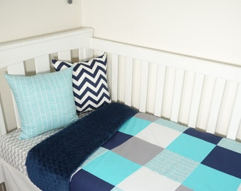 Patchwork quilt - Aqua's, navy and grey with a touch of herringbone (Navy minky quilt backing)