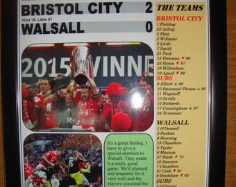 Bristol City 2 Walsall 0 - 2015 JPT Trophy final - souvenir print