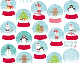 Snow Globes Christmas Clip-Art, christmas graphics, Holiday clip-art, Stationery Printable INSTANT DOWNLOAD, santa, elf, commercial use tree