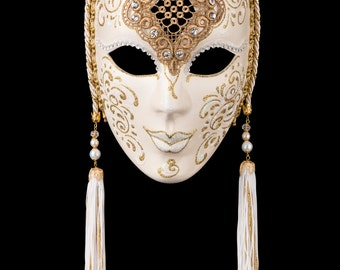 Venetian Mask Penelope White and Gold