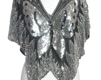 Vintage 1980's Silver & Black Sequin Butterfly Top - www.brickvintage.com