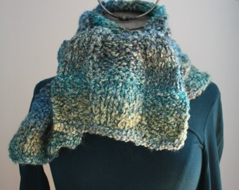 Midnight Blue scarf knitted by hand
