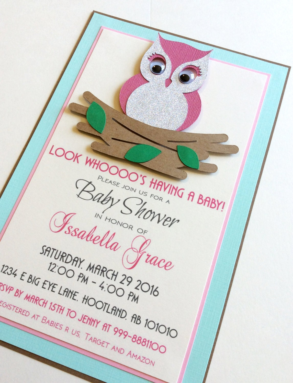 owl invitation owl baby shower invitation owl handmade