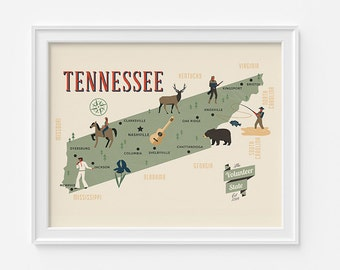 Tennessee Map, The Volunteer state map, original map, nursery map, Home State Map, Tennessee state poster, modern family map, Nashville map