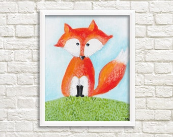 DIGITAL Print kids art FOX - Instand download - Fox painting