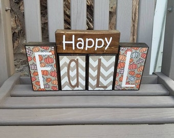 Happy Fall, Fall Decor, Seasonal Decor, Thanksgiving, Handmade Wood Decor, Rustic Decor, Home Decor, Block Set