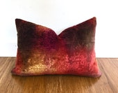 Velvet Lumbar Pillow, S. Harris' Hologram fabric in Pomegranate