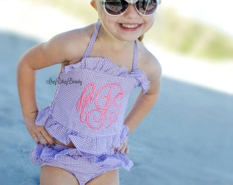 Girls Seersucker Bathing Suit - Monogrammed Swimsuits - Ruffled Baby Swimsuit - Monogramed Bathing Suit - Purple Seersucker Bathing suit