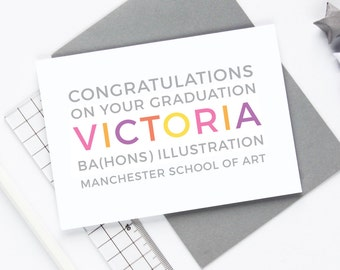 Graduation Card -  Well Done, University Card, Graduate, Personalised with Name