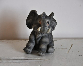 Vintage Vaga International Biscuit Porcelain Elephant Figurine - Retro Decoration - Collectible Figurine