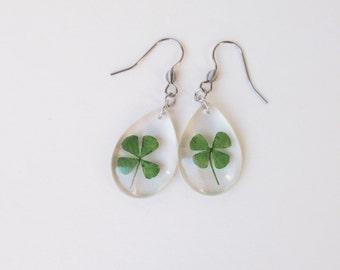 Botanical Resin Earrings  - Real, Pressed Flower, Encased in Resin, Plant Earrings, Four leaf clover earrings