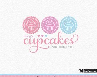 Premade Cupcake Logo, Bakery Logo, Cake Logo, Cakery Logo, Baking Logo, Chef Logo, Business Logo, Watermark, Logo Design, Pink Purple Blue