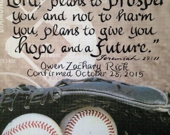 Confirmation Gift Boy, Baseball Verse, Custom Confirmation Gift, Kids Room Wall Decor Jeremiah 29  11, Hand Lettered 8 x 10