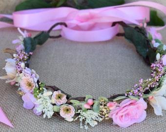 Pink Flower Girl Crown - Pink, Ivory & Beige Flower Girl Wreath - Baby Photo Prop - Birthday Flower Crown- Pink Rose Flower Crown- Woodland