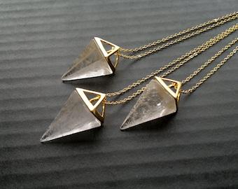 Clear Quartz Necklace Triangle Necklace Geometric Necklace Clear Quartz Pendulum Pendant Clear Stone Necklace Clear Quartz Jewelry Geometric