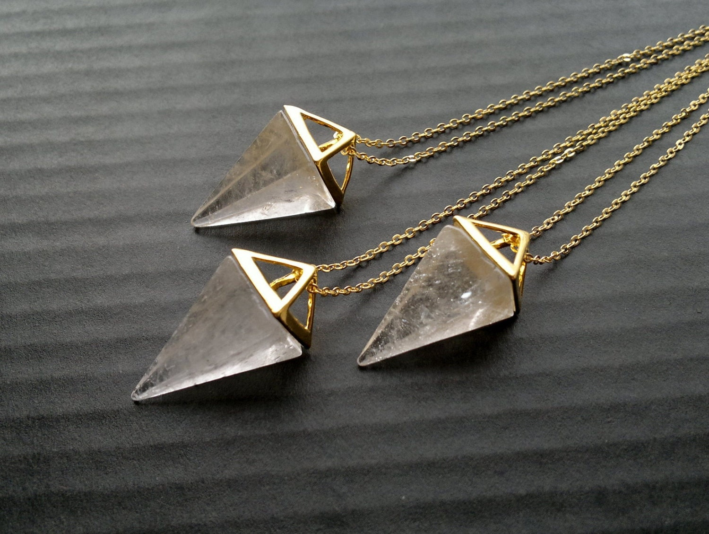 Clear Quartz Necklace Triangle Necklace Geometric Necklace