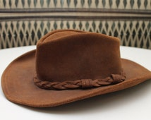 Brown Suede Outback Hat // Genuine Leather Wide Brim Cowboy Hat // Men's Extra Large // By Minnetonka