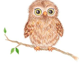 Owl art print. Woodland animal nursery art, kids room decor. Watercolor painting illustration. Whimsical woodland creature. Forest animal.