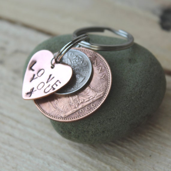 lucky silver sixpence key ring s day