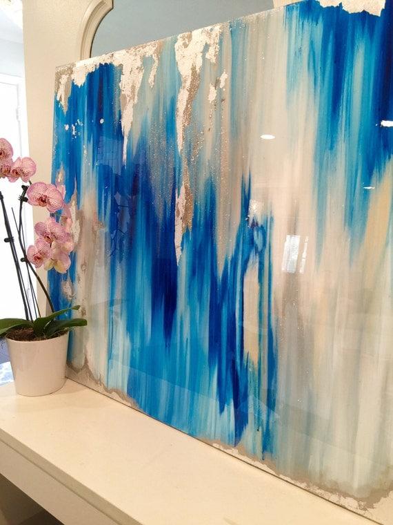 Vendu acrylique abstrait art grande toile peinture gris for Blue paintings on canvas