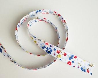 Floral Bias Tape, 3 yards, Floral Bias Binding, Double Fold Bias Tape, Bias Trim, Bias Binding, Decorations, Blue Flowers