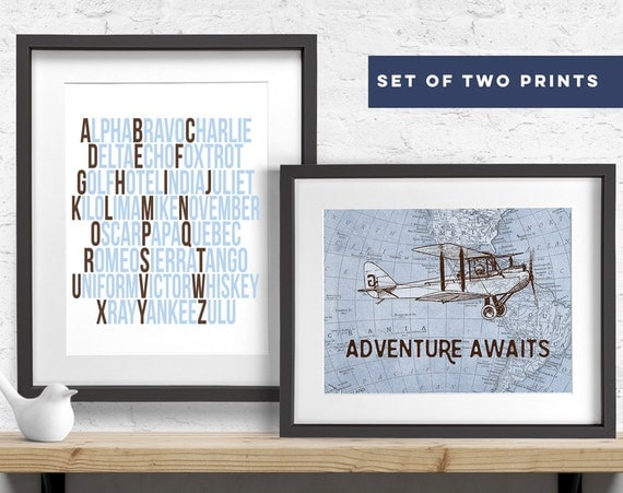 Vintage airplane nursery decor set of 2 prints aviation Vintage airplane decor for nursery