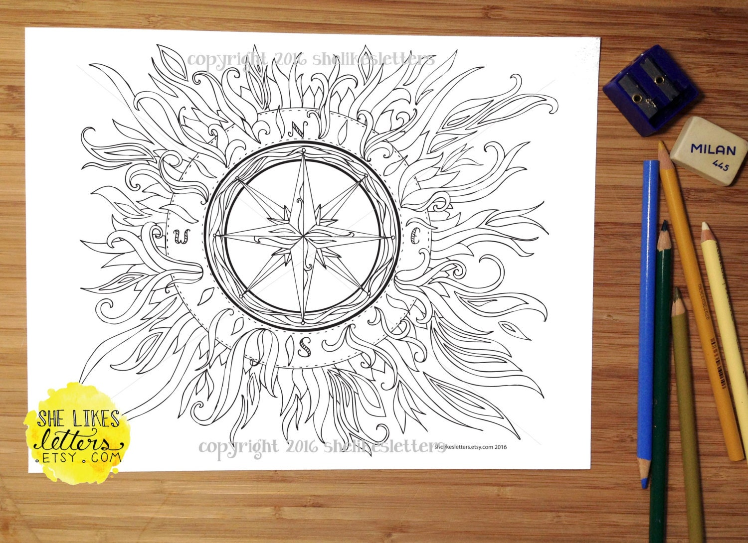 Compass Adult Coloring Page / Boho Colouring by ...