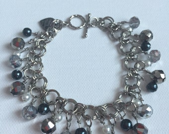 Handmade Silver and Charcoal Charm Bracelet