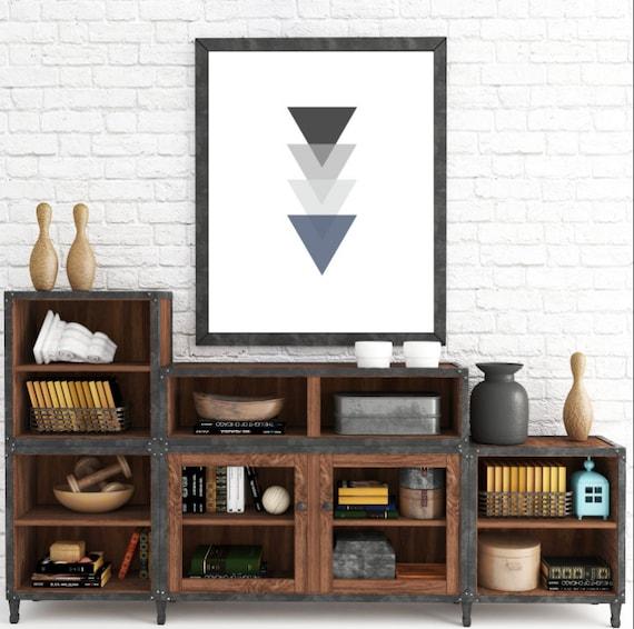 Monochrome Triangle Art, Black and White Artwork, Gray and Blue Decor, Triangle Wall Art, Black White Tribal Geometric, Black Geometric