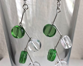 Beaded Green and Clear Zig Zag Dangle and Drop Earrings