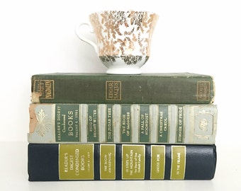 Blue & Green Printed Book Stack - Shabby Chic Vintage Book Decor